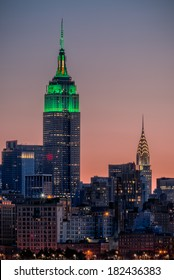 St Patrick's Day postcard. Empire State Building lit up in green for St Patrick's Day in New York City