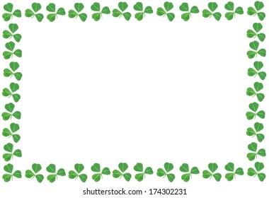St Patricks Day shamrock frame over a white background