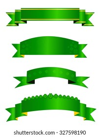 St. Patricks day themed web banner / ribbon collection isolated on white background