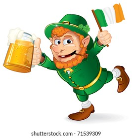 St Patrick's Day traditional celebration symbol - Colorful Cartoon illustration of a Happy Smiling Leprechaun with mug of lager beer and irish flag holding in hand - isolated on white