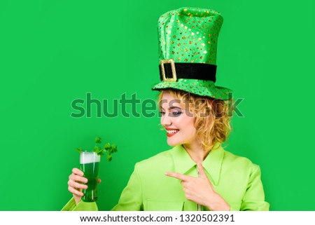 f806affe46b St Patricks Day. Woman drinking in pub. Patrick s Day girl. Woman drinks  green beer. Leprechaun. Green beer. Green hat with clover. Irish  Traditions. Pub.