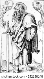 St. Paul (aka Paul of Tarsus) (ca. 10 BC- ca. 67 AD), 16th century woodcut by Lucas Cranach the Elder