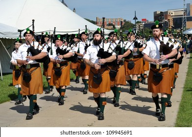 ST. PAUL - AUGUST 11:  Bagpipers entertain the crowd at the Minnesota Irish Festival on August 11, 2012, in St. Paul, Minnesota.
