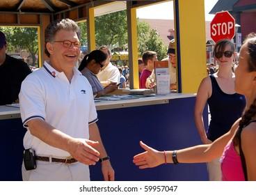 ST. PAUL - AUGUST 28:  U.S. Senator Al Franken greeting constituents at the Minnesota State Fair on August 28, 2010 in St. Paul.