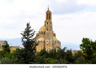 St. Paul Basilica atop of Harissa Mountain in Lebanon. The Cathedral is built following the byzantine architectural model for orthodox churches.