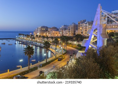 St Paul Bay and the Harbor in Bugibba on the Island of Malta at night