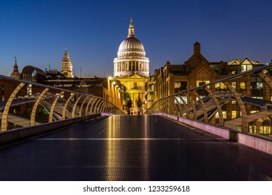 St paul cathedral with millennium bridge sunset twilight in London UK.