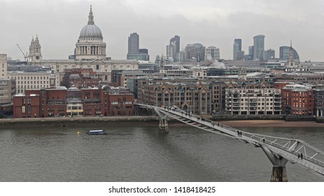 St Paul Cathedral  Millennium Bridge and Thames River London