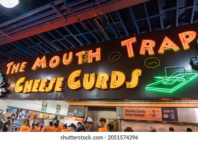 St. Paul, Minnesota - August 30, 2021: The Mouth Trap Cheese Curds vendor booth at the Minnesota State Fair
