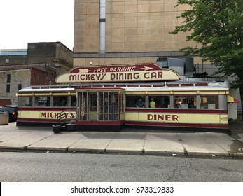 St. Paul, Minnesota - Circa 2017: Mickey's Diner Car resteraunt eatery. Famous scene in Mighty Ducks movie