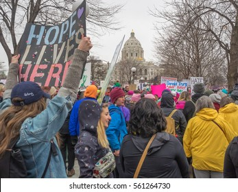 ST. PAUL, MINNESOTA - JANUARY 21, 2017: A crowd of people at the Women's March and rally at the state capitol in St. Paul, Minnesota, on January, 21, 2017.