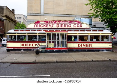 ST PAUL, MINNESOTA - May 2017: Mickey's Dining Car, a St Paul landmark. It has been open continuously since the 1930's