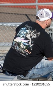 "ST PAUL, MINNESOTA - OCTOBER 26, 2015: Man wearing ""Follow the Dream"" Sturgis motorcycle rally T-shirt."