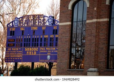 ST PAUL, MINNESOTA USA - APRIL 25, 2019: Baseball scoreboard at Cretin Durham Hall High School Shrode Field recognizing athletes Joe Mauer and Paul Molitor.
