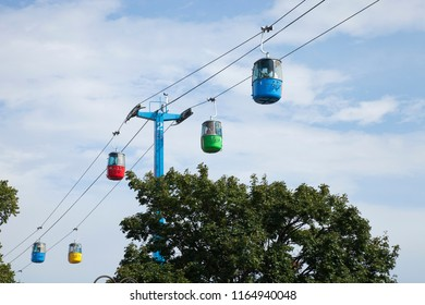 ST. PAUL, MINNESOTA / USA - AUGUST 26, 2018: Brightly colored gondolas of the Sky Ride at the Minnesota State Fair which provide a bird's eye view of the fair.