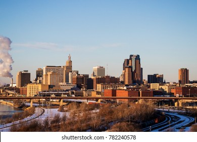ST. PAUL, MINNESOTA, USA - DECEMBER 23, 2017: - The skyline of downtown St. Paul, Minnesota's capital city, on a chilly December morning.