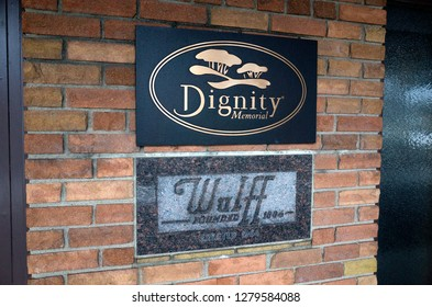 ST PAUL, MINNESOTA USA - FEBRUARY 15, 2016: Signage near the entrance to Wulff Funeral Home.