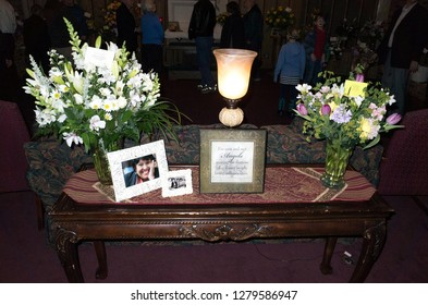 ST PAUL, MINNESOTA USA - FEBRUARY 15, 2016: Memorial table at funeral home for deceased Mexican American neighbor, a Democrat who loved politics.