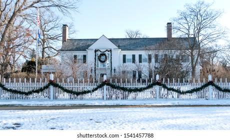ST PAUL, MINNESOTA / USA - JANUARY 01, 2017: Winter rendition of the University of Minnesota presidents home called Eastcliff.