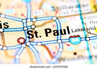 St. Paul. Minnesota. USA on a map