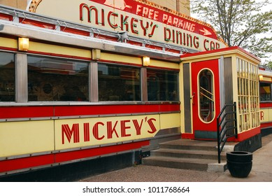 St Paul, MN, USA May 14, 2013 Historic Mickeys Dining Car, a Pre-Fabricated Eatery, is a local culinary landmark in St Paul Minnesota