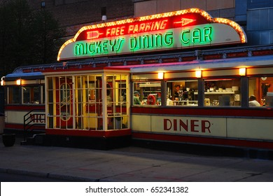 St Paul, MN, USA May 15, 2013 Mickey's Boxcar Diner in St Paul, Minnesota, is a classic boxcar diner located in the heart of downtown.  It has been featured in several movies