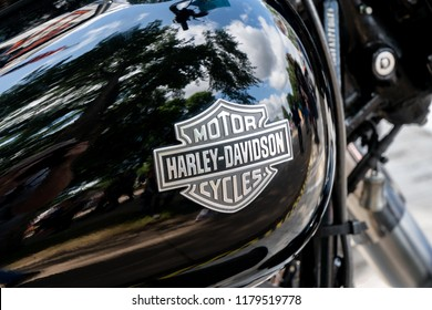 ST. PAUL, MN/USA - AUGUST 29, 2018 :Harley-Davidson detail and logo. Harley-Davidson, Inc. is an American motorcycle manufacturer.