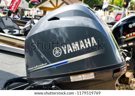 PAUL, MN/USA - AUGUST 29, 2018: Yamaha outboard motor