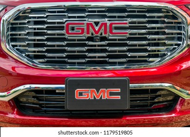 ST. PAUL, MN/USA - AUGUST 29,2018: GMC logo and grille. General Motors Corporation is an American automobile division of  General Motors.