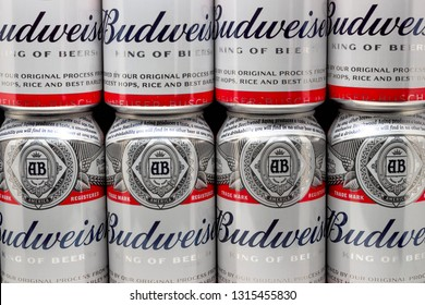 ST. PAUL, MN/USA - FEBRUARY 16, 2019: Grouping of Budweiser beer and trademark logo. Budweiser is an American-style pale lager produced by Anheuser-Busch.