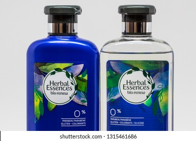 ST. PAUL, MN/USA - FEBRUARY 17, 2019:  Herbal Essences shampoo and trademark logo. Herbal Essences is a brand of hair coloring and haircare products line by Clairol.