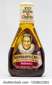 ST. PAUL, MN/USA - FEBRUARY 20, 2019: Newman's Own Balsamic salad dressing and trademark logo. Newman's Own is a food company founded by the late actor Paul Newman.