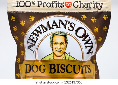 ST. PAUL, MN/USA - FEBRUARY 20, 2019: Newman's Own Dog Biscuits and trademark logo. Newman's Own is a food company founded by the late actor Paul Newman.
