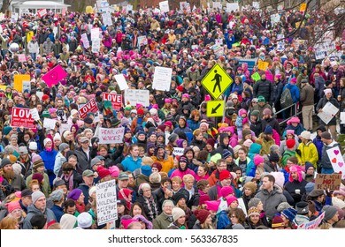 ST. PAUL, MN/USA - JANUARY 21, 2016: Unidentified particpants at the 2017 Women's March Minnesota. The Women's March represented the worldwide protest to protect women's rights and other causes.