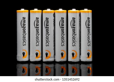 ST. PAUL, MN/USA - MARCH 18, 2019: AmazonBasics grouping of AAA batteries. AmazonBasics is a private-label that offers home goods, office supplies, and tech accessories.