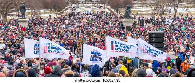 ST. PAUL, MN/USA - MARCH 24, 2018: Panorama of Unidentified individuals participating in the March for our Lives protest at the Minnesota State Capitol.