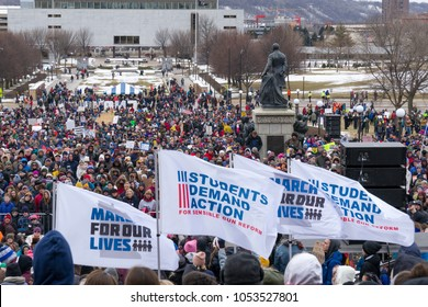 ST. PAUL, MN/USA - MARCH 24, 2018: Unidentified individuals participating in the March for our Lives protest at the Minnesota State Capitol.