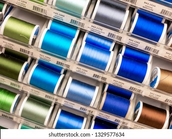 ST. PAUL, MN/USA - MARCH 3, 2019: Sulky of America spools of thread and trademark logo. Sulky is a manufacter of thread and craft supplies.