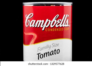 ST. PAUL, MN/USA - MARCH 4, 2019: Campbell's Tomato Soup and trademark logo. Campbell's is an American producer of canned soups and related products.