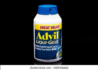 ST PAUL, MN/USA - MAY 20, 2019: Advil Liqui Gels container and trademark logo.