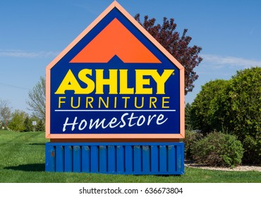 ST. PAUL, MN/USA - MAY 7, 2017:  Ashley Furniture store exterior. Ashley Furniture Industries, Inc. is an American home furnishings manufacturer and retailer.
