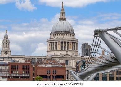 St Paul Paul's cathedral from Millennium Bridge, London, Uk
