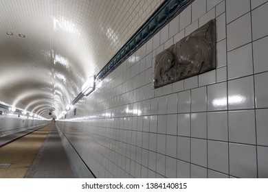 St. Pauli Old Elbe Tunnel with glazed terra cotta fish ornament after refurbishment in Hamburg, Germany