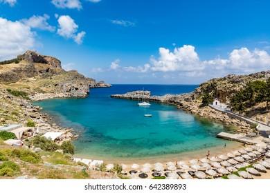 St Paul's Bay and Agios Pavlos beach near Lindos on a beautiful day, Rhodes island, Greece