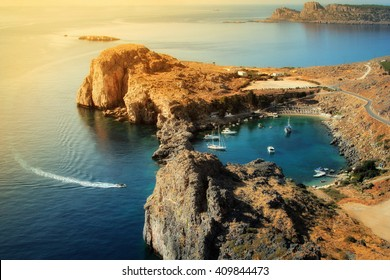 St Paul's Bay and heart shaped lake near Acropolis of Lindos, Rhodes, Greece