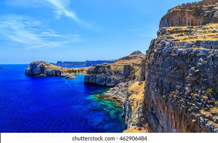 st paul's bay at Lindos town in Rhodes, Greece