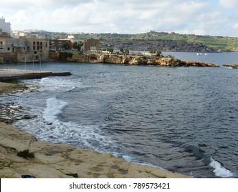 St. Paul's Bay, Malta / Malta - November 2017: Coastline in St. Paul's Bay