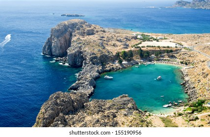 St. Paul's bay near Lindos village on Rhodes island, Greece