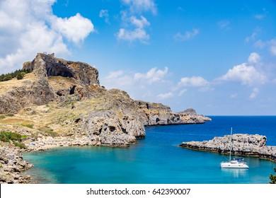 St Paul's Bay near Lindos city on a beautiful day, Rhodes island, Greece