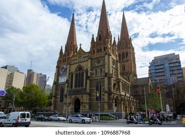 St. Paul's Cathedral, Anglicans church in  Downtown Melbourne.Australia:09/04/2018